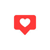 Vector icon like.Thumbs up  with heart shape. Social media red icon on isolated background. vector eps10