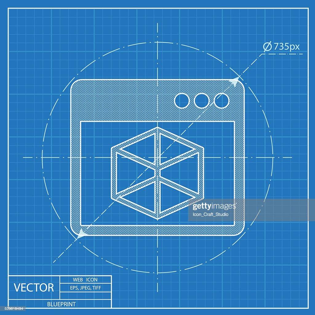 Vector icon of 3d program window blueprint style vector art getty vector icon of 3d program window blueprint style vector art malvernweather Gallery