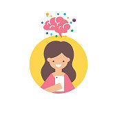 Vector icon of a girl with smartphone using brain training app