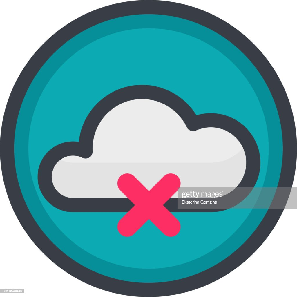 Vector Icon of a no connection in flat style with outline. Pixel perfect. Player and multimedia icon.