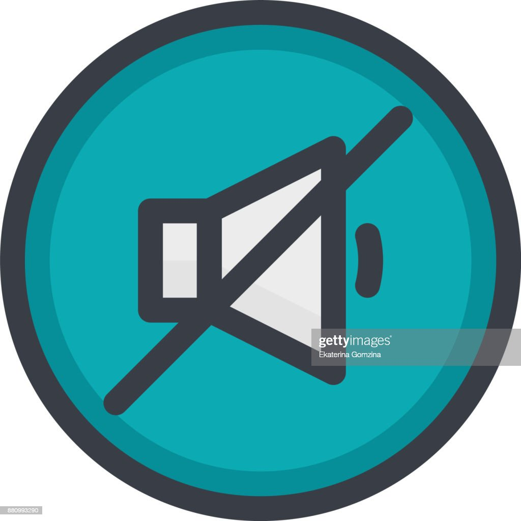 Vector Icon of a no sound on button in flat style with outline. Pixel perfect. Player and multimedia icon.