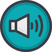 Vector Icon of a sound on button in flat style with outline. Pixel perfect. Player and multimedia icon.