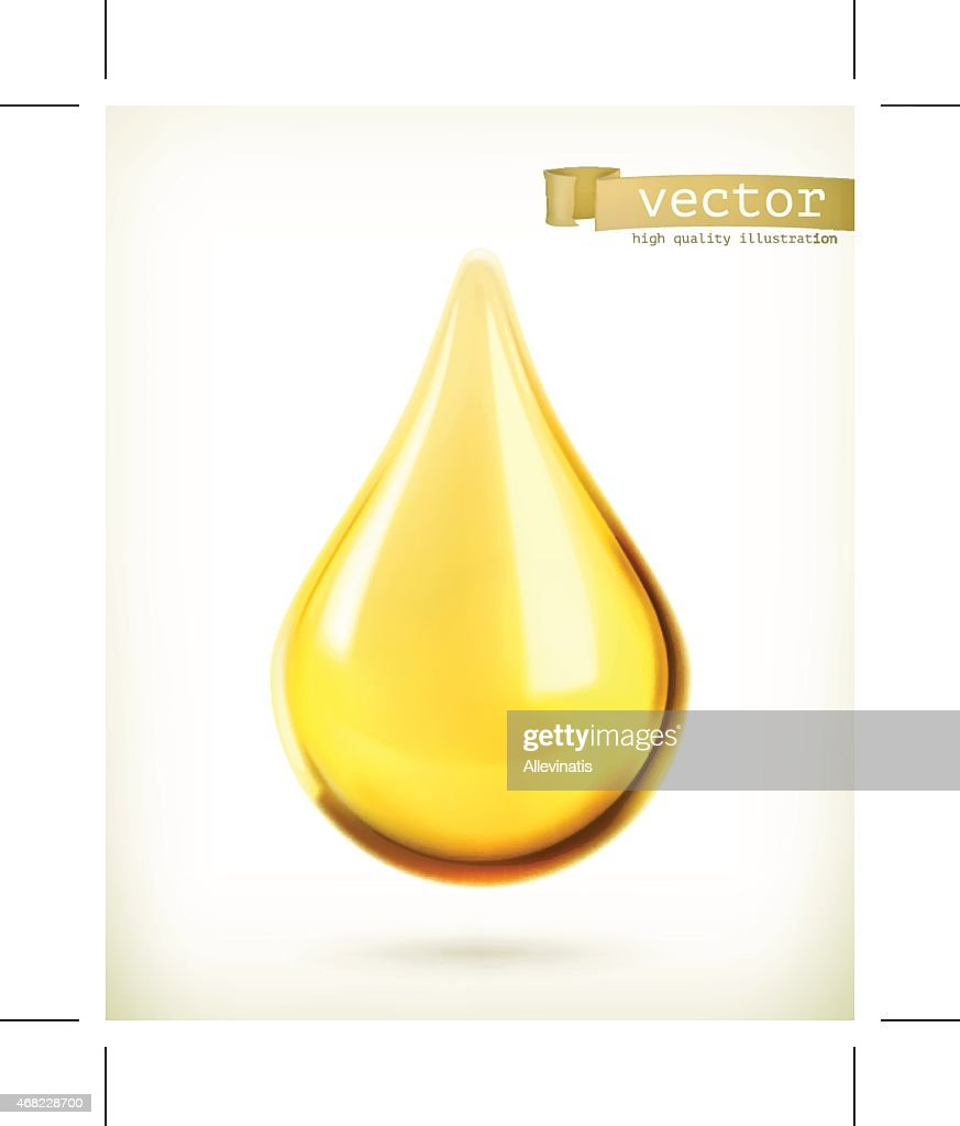 Vector icon of an oil drop floating
