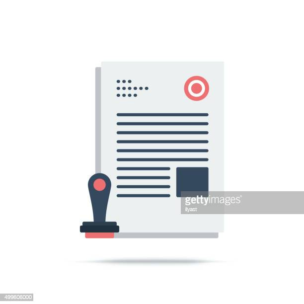 vector icon of approved - legal document stock illustrations, clip art, cartoons, & icons