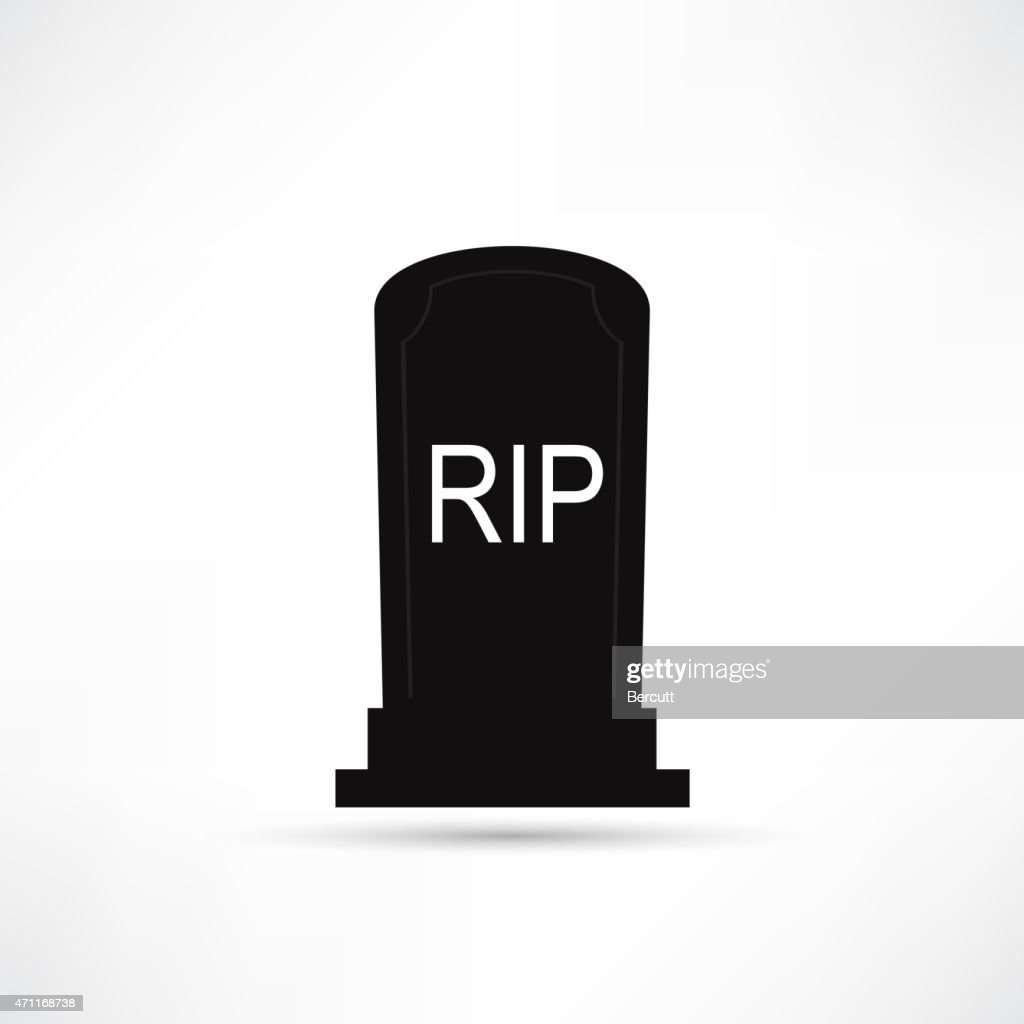 Vector icon of black tombstone with white RIP