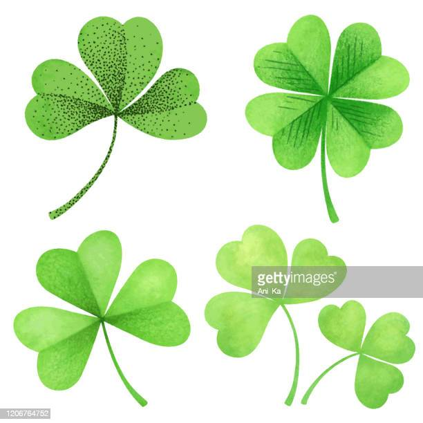 vector icon of clover - four leaf clover stock illustrations