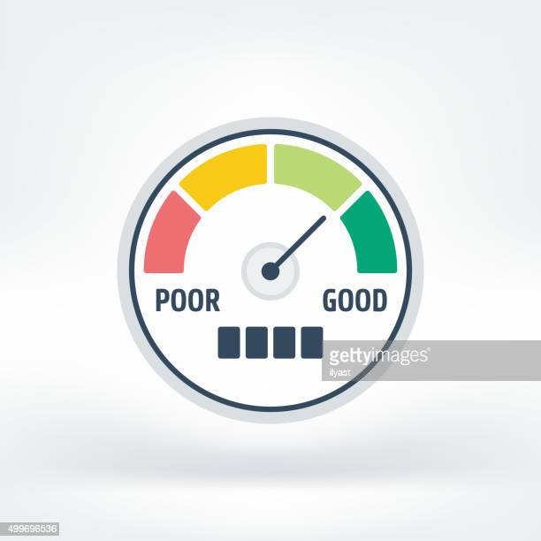 vector icon of credit score - meter instrument of measurement stock illustrations
