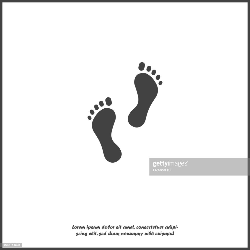 Vector icon of footprint of man. Illustration footprint icon on white isolated background.