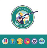 Vector icon of the sport club. Shooting Skeet. Round icons. Set of design elements.