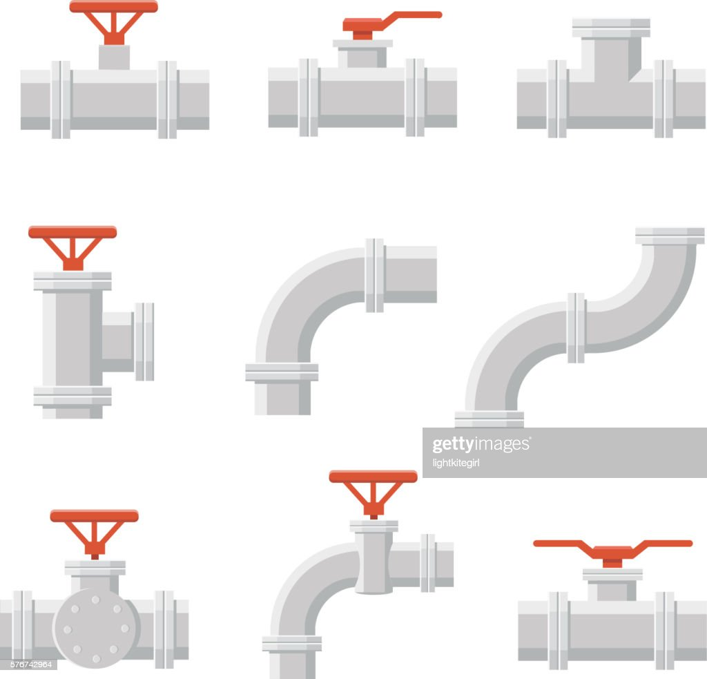 Vector icon of water pipe connector for plumbing and piping