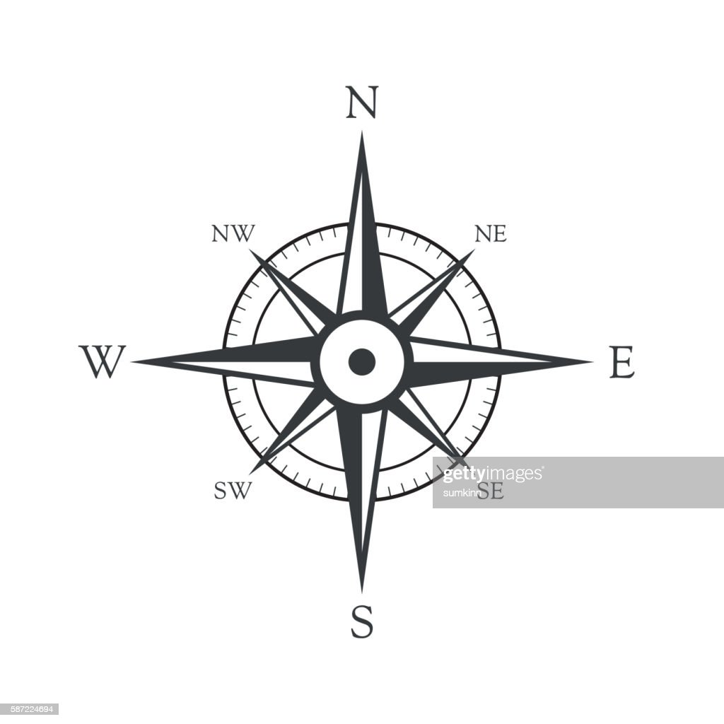 Vector icon old marine compass