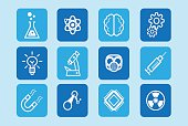 Vector icon set design of science, innovation and technology