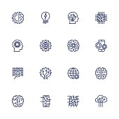 Vector icon set for artificial intelligence concept. Various symbols for the topic AI using flat design