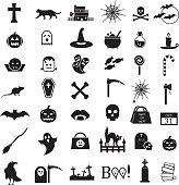 Vector icon set Halloween, black Halloween icons isolated on white background 42 icons