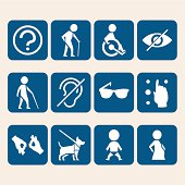 Vector icon set of access signs for physically disabled people