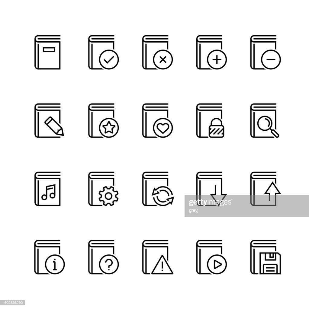Vector icon set of books in thin line style