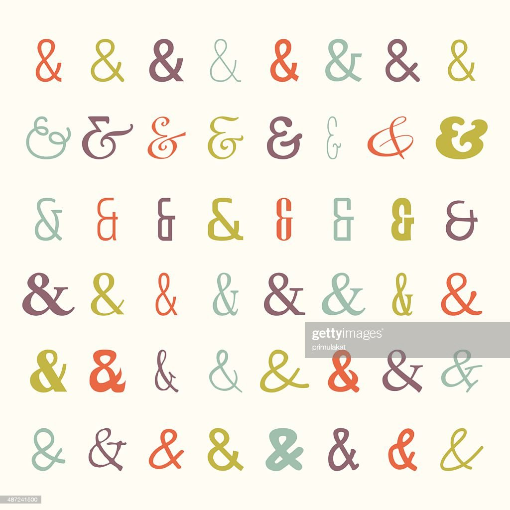 Vector icon set of colored ampersands