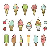 Vector icon set of yummy colored ice cream