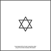 Vector icon star from two triangles. Illustration of a five-pointed star on white isolated background.