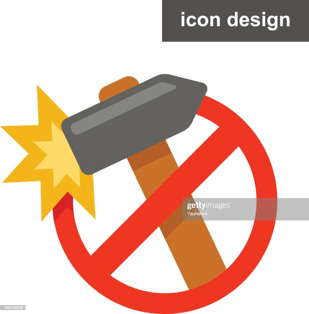Vector icon sticker stop damage hammer