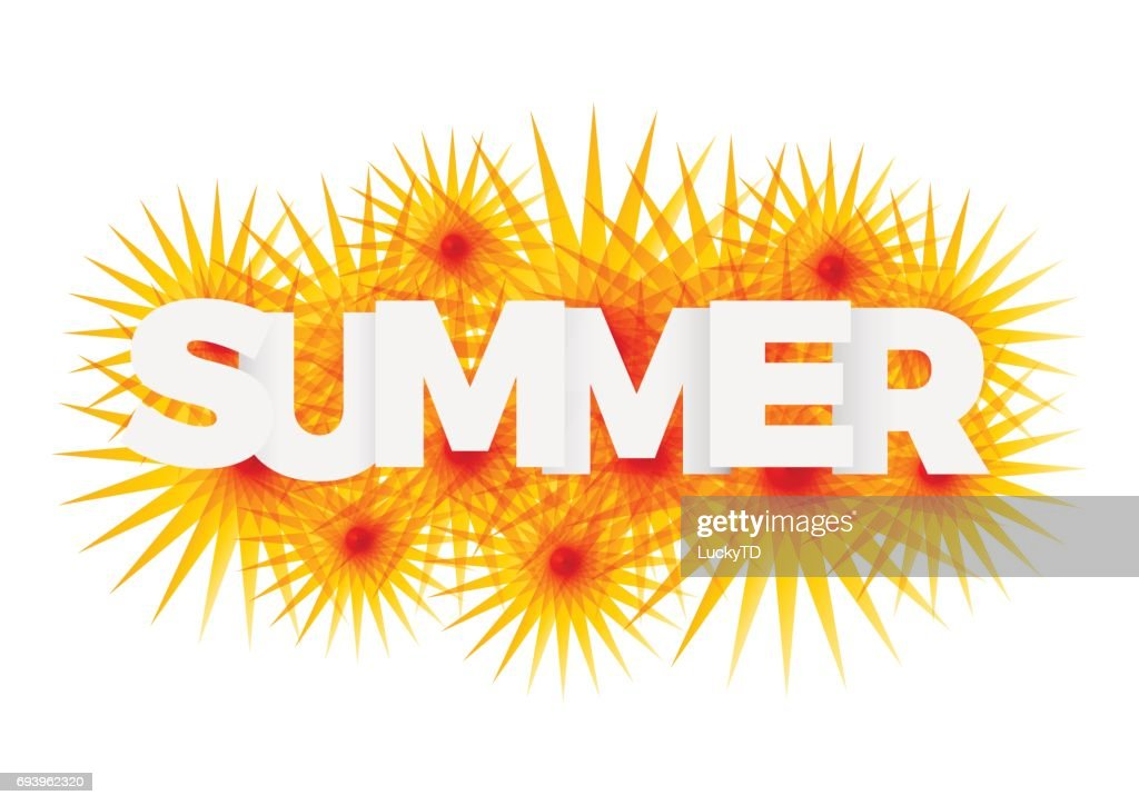 Vector Icon Sun With Text Summer Concept stock illustration
