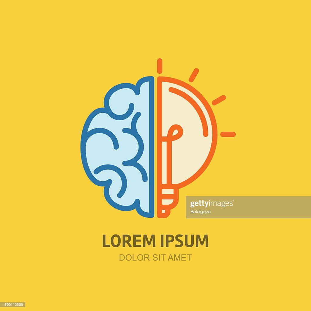 Vector icon with brain and light bulb.