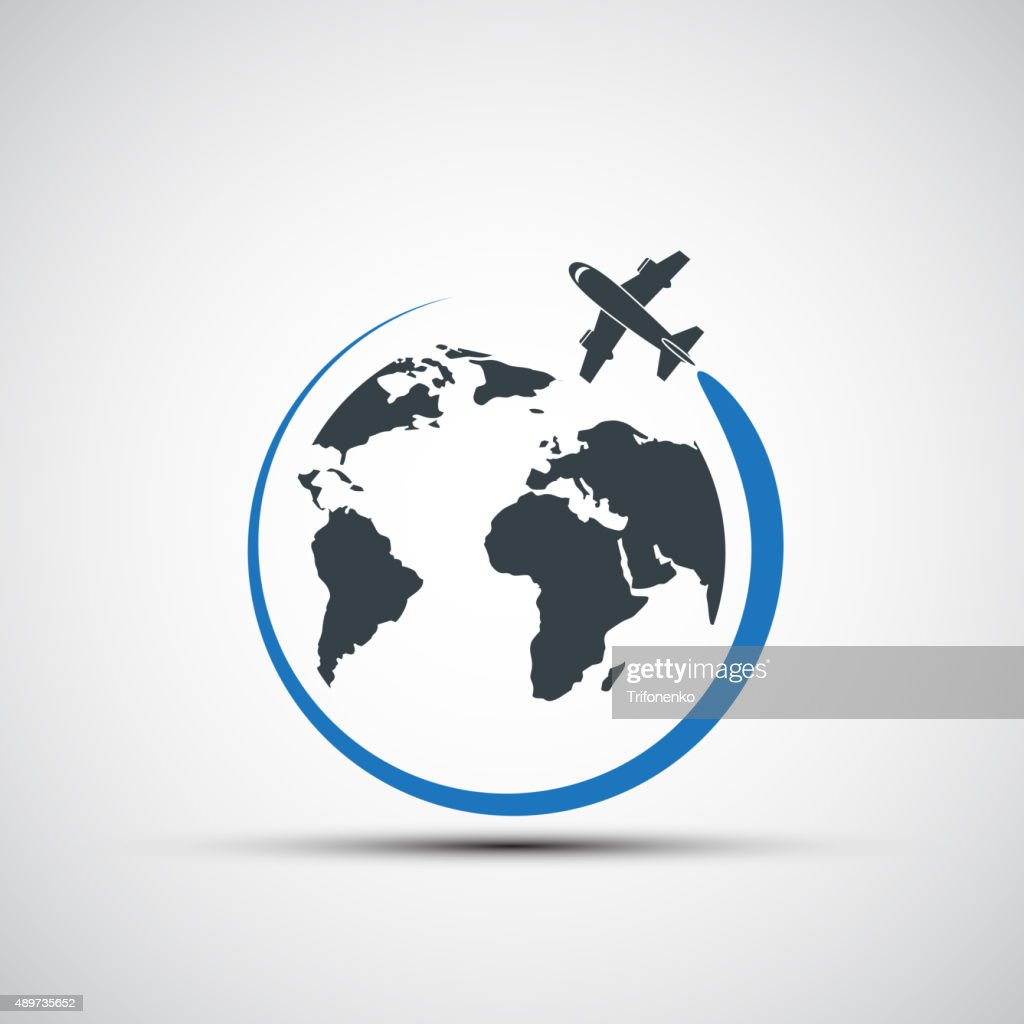 Vector icons airplane fly around the planet earth