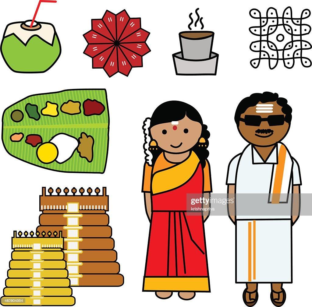 Vector Icons depicting the culture of Tamilnadu, India.