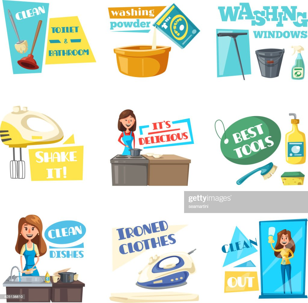 Vector icons for home housework cleaning washing
