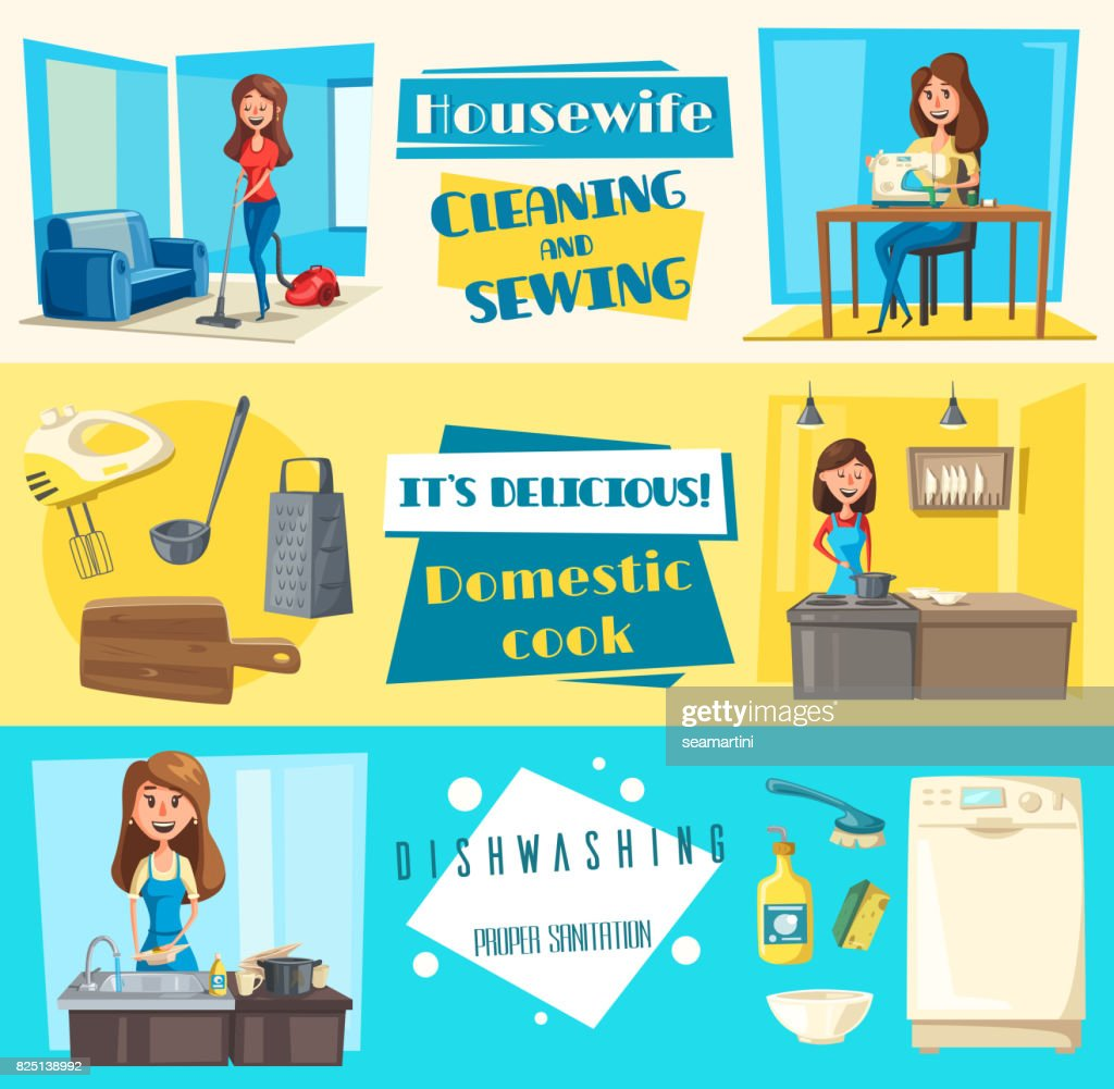 Vector icons for housework cleaning washing sewing