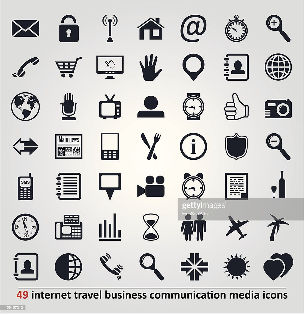 vector icons for internet, travel, business, communication
