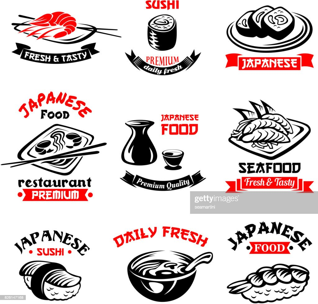 Vector icons for Japanese sushi food restaurant