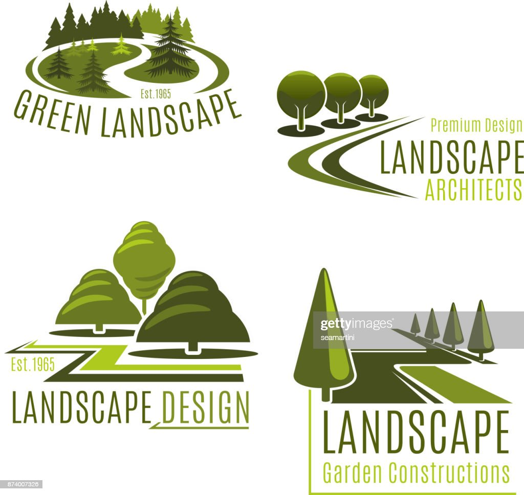 Vector icons for nature landscaping company
