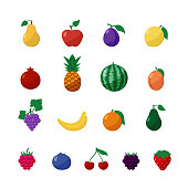Vector Icons Fruits and Berries in Flat Style Set Isolated