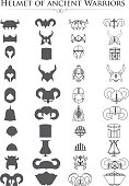 vector icons helmets of ancient warriors