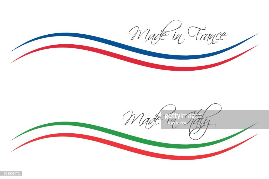 Vector icons Made in France and Made in Italy isolated on white background for your products, infographic, web and apps