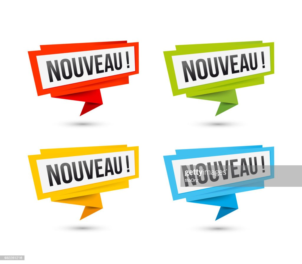 Vector icons New, in French - Origami paper labels
