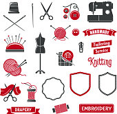 Vector icons of dressmaker sewing knitting salon