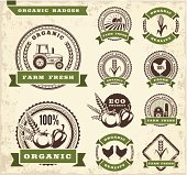 Vector icons of farm badges and ribbons