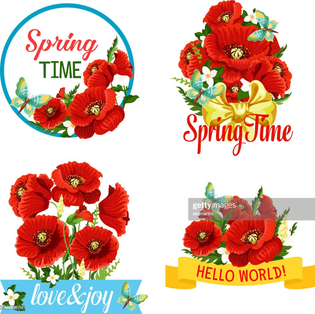 Vector Icons Of Flowers And Spring Time Quotes Vector Art Getty Images