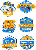 Vector icons of home construction and repair tools