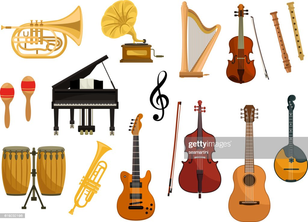 Vector icons of musical instruments