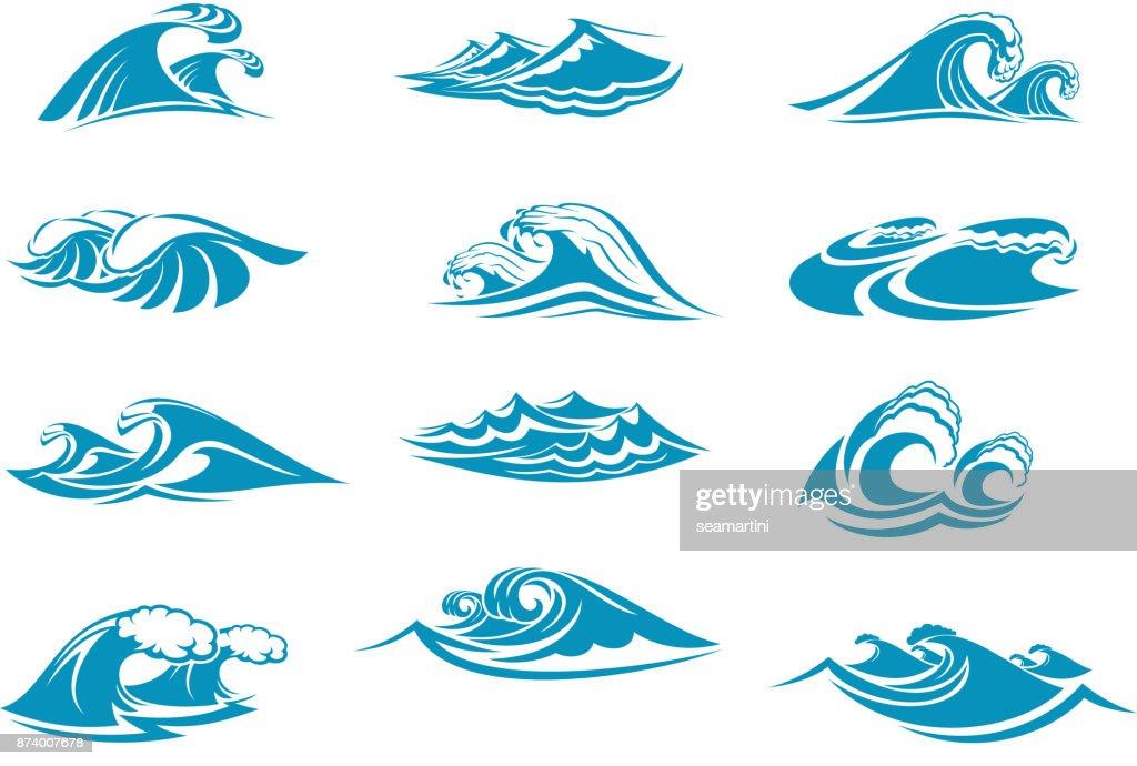 Vector icons of ocen water wave blue splash