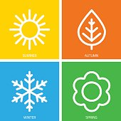 Vector icons of seasons.