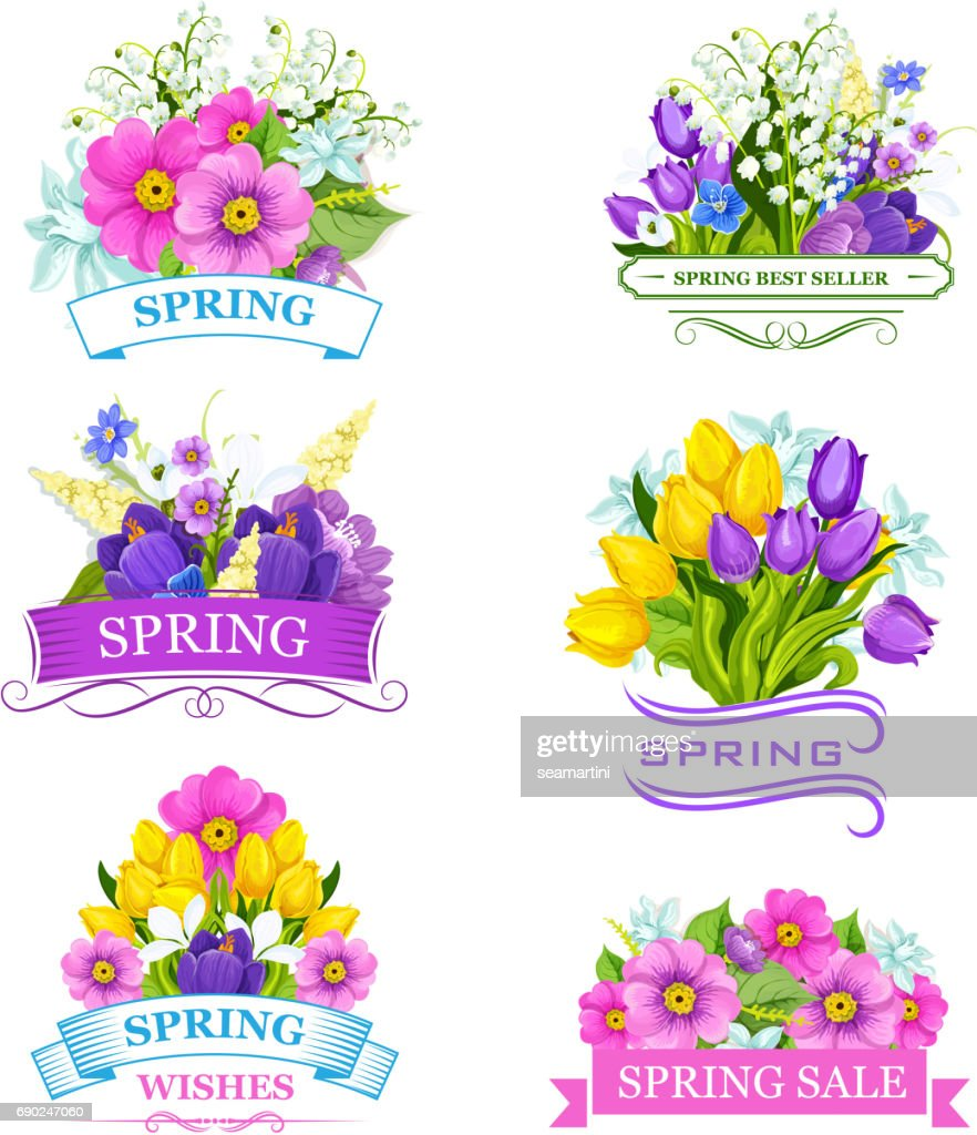 Vector icons of spring flowers for sale labels