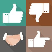 Vector icons of thumbs up, thumbs down and a handshake