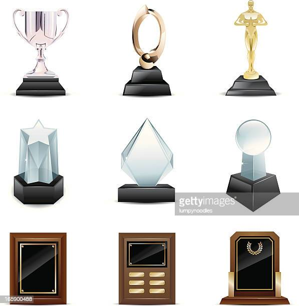 Vector icons of trophies and awards