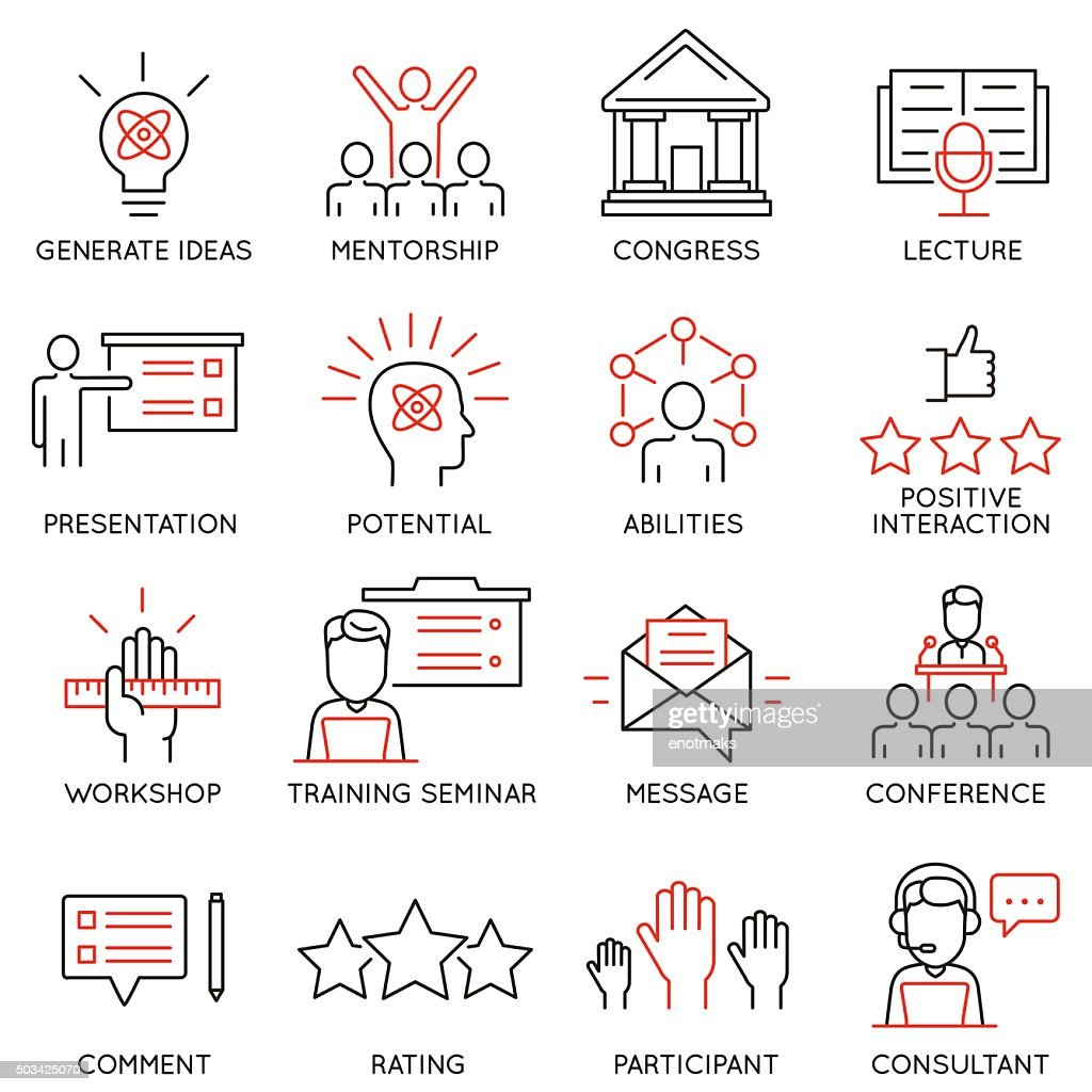 Vector icons related to career progress, professional consulting service