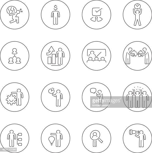 Vector icons relating to business