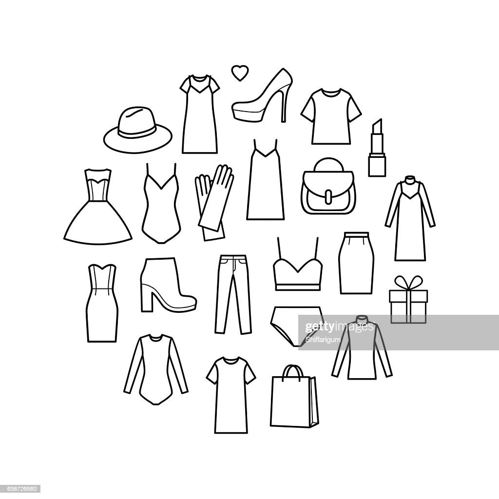 Vector icons set of  ladieswear